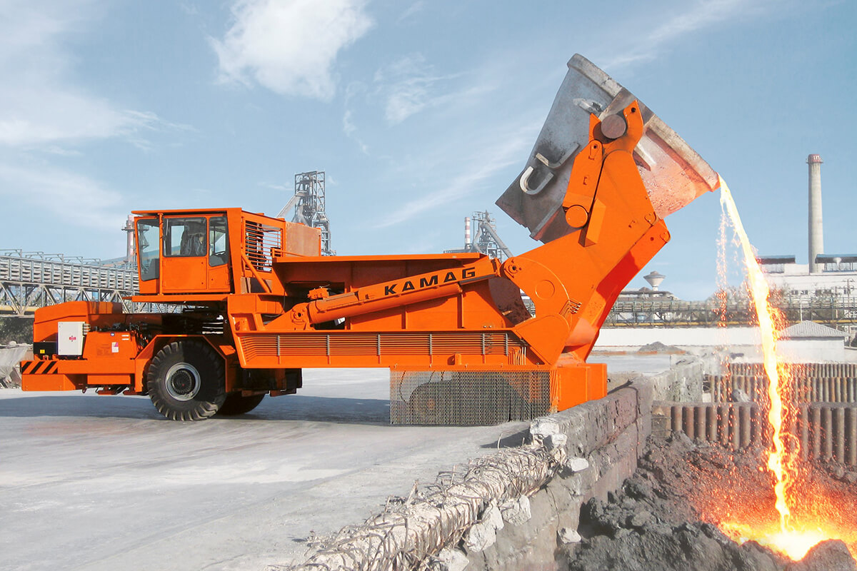 Up to 160 tonnes of 1,300° molten slag - TII Group slag pot carriers ensure a dangerous job is carried out safely.